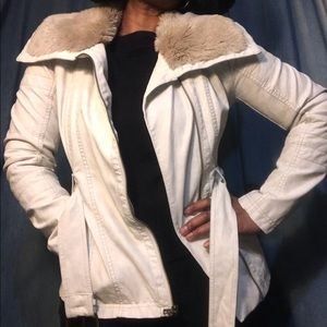 Jessica Simpson White Leather Belted Jacket Sz S/P